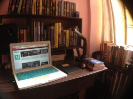 Where the action happens. Up there is my proud collection of Discworld and other Terry Pratchett books.